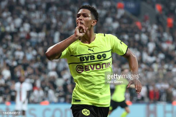 Jude Bellingham of Borussia Dortmund celebrates after scoring their side's first goal during the UEFA Champions League group C match between Besiktas...