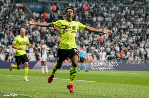 Jude Bellingham of Borussia Dortmund celebrates scoring the opening goal during the Champions League Group C match between Besiktas and Borussia...