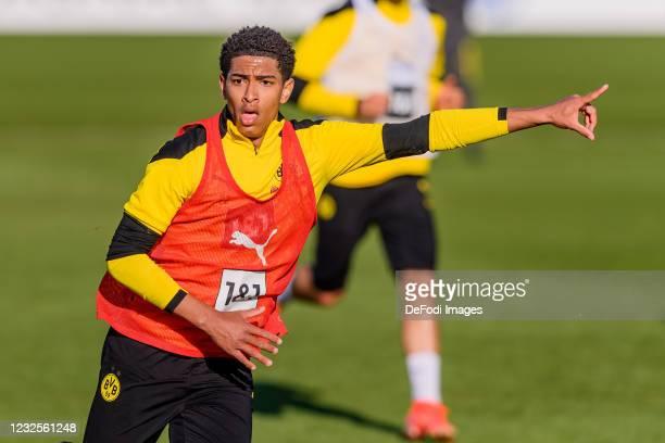 Jude Bellingham of Borussia Dortmund gestures during the Borussia Dortmund Training Session on April 27, 2021 in Dortmund, Germany.