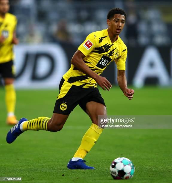 Jude Bellingham of Borussia Dortmund in action during the Bundesliga match between Borussia Dortmund and Borussia Moenchengladbach at Signal Iduna...
