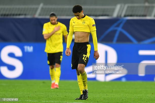 Jude Bellingham of Borussia Dortmund looks dejected after Manchester City's second goal scored by Phil Foden during the UEFA Champions League Quarter...