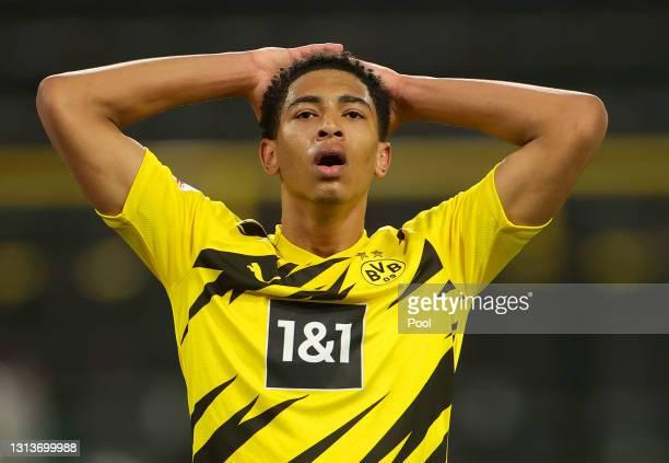 Jude Bellingham of Borussia Dortmund reacts during the Bundesliga match between Borussia Dortmund and 1. FC Union Berlin at Signal Iduna Park on...