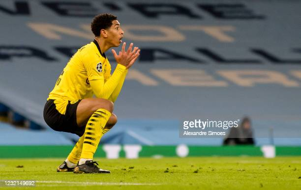 Jude Bellingham of Borussia Dortmund reacts during the Champions League match between Manchester City and Borussia Dortmund at the Manchester City...