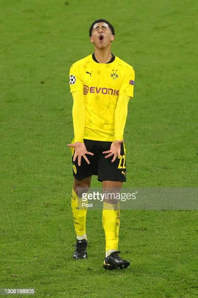 Jude Bellingham of Borussia Dortmund reacts during the UEFA Champions League Round of 16 match between Borussia Dortmund and Sevilla FC at Signal...