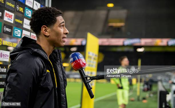 Jude Bellingham of Borussia Dortmund speaks during an interview after the final whistle of the Bundesliga match between Borussia Dortmund and 1. FC...