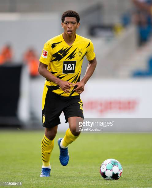 Jude Bellingham of Dortmund controls the ball during the pre-season friendly match between Borussia Dortmund and FK Austria Wien at Cashpoint Arena...