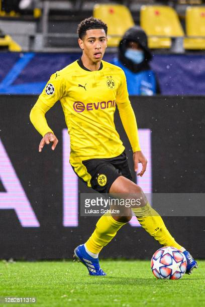 Jude Bellingham of Dortmund kicks the ball during the UEFA Champions League Group F stage match between Borussia Dortmund and Zenit St. Petersburg at...