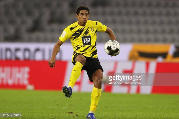 Jude Bellingham of Dortmund runs with the ball during the Supercup 2020 match between FC Bayern München and Borussia Dortmund at Allianz Arena on...