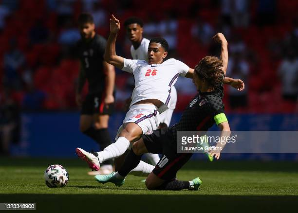 Jude Bellingham of England is challenged by Luka Modric of Croatia during the UEFA Euro 2020 Championship Group D match between England and Croatia...