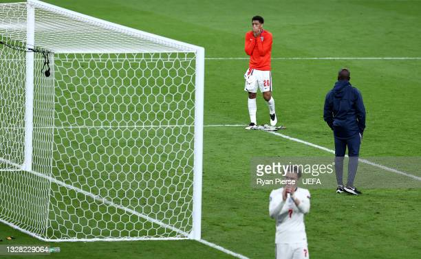 Jude Bellingham of England looks dejected after the UEFA Euro 2020 Championship Final between Italy and England at Wembley Stadium on July 11, 2021...