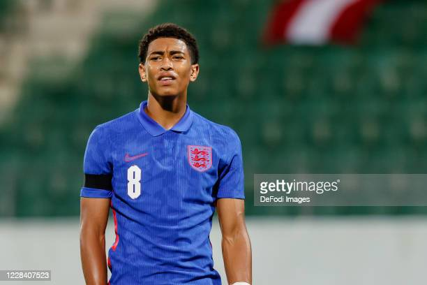 Jude Bellingham of England looks on during the UEFA Euro Under 21 Qualifier match between Austria U21 and England U21 at Keine Sorgen Arena on...
