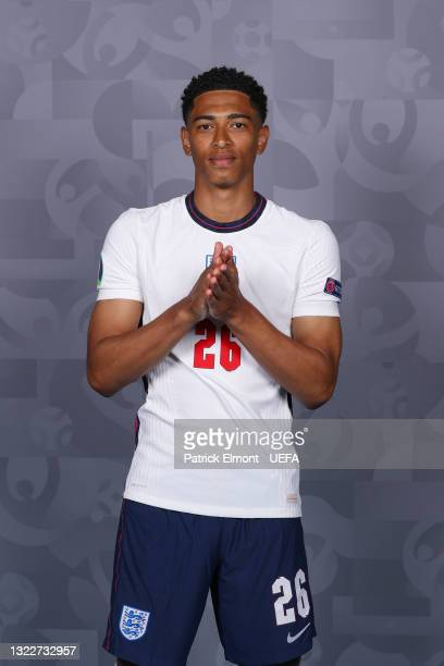 Jude Bellingham of England poses during the official UEFA Euro 2020 media access day at St George's Park Futsal Arena on June 08, 2021 in Burton upon...