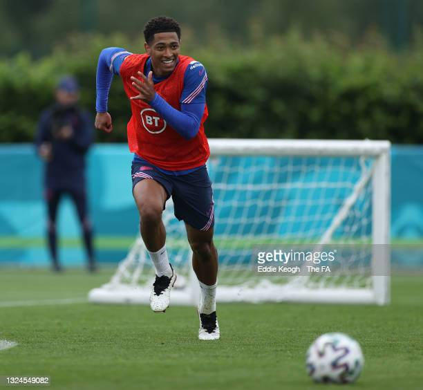 Jude Bellingham of England runs during the England Training Session at Tottenham Hotspur Training Ground on June 20, 2021 in Burton upon Trent,...