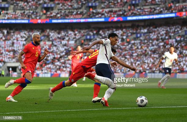 Jude Bellingham of England takes a shot during the 2022 FIFA World Cup Qualifier match between England and Andorra at Wembley Stadium on September...