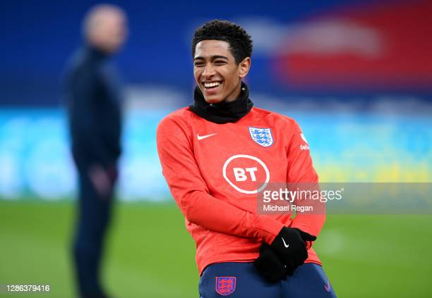 Jude Bellingham of England warms up prior to the UEFA Nations League group stage match between England and Iceland at Wembley Stadium on November 18,...
