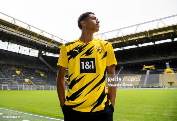 Jude Bellingham poses after he signed a contract with Borussia Dortmund on July 16 2020 in Dortmund Germany As the club announced today Monday 20...