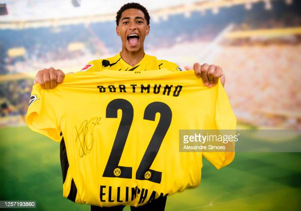 Jude Bellingham poses with a jersey after he signed a contract with Borussia Dortmund on July 16 2020 in Dortmund Germany As the club announced today...