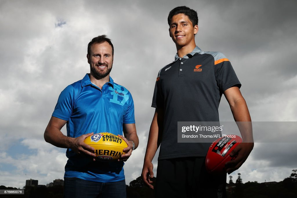 Jude Bolton and Nick Shipley pose during an AFL media opportunity ahead of the 2017 AFL Draft and AFL 9s at Queens Park on November 21, 2017 in Sydney, Australia.