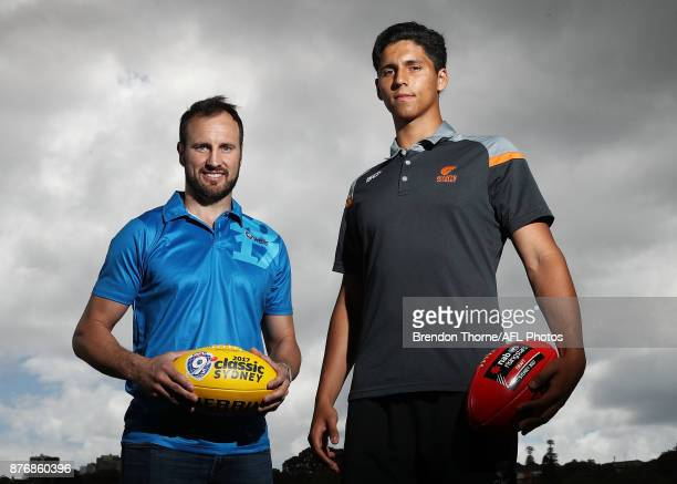 Jude Bolton and Nick Shipley pose during an AFL media opportunity ahead of the 2017 AFL Draft and AFL 9s at Queens Park on November 21 2017 in Sydney...