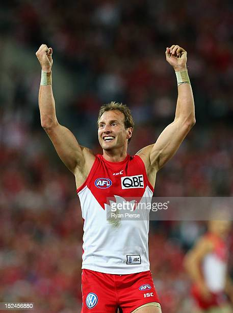 Jude Bolton of the Swans celebrates after kicking a goal during the second AFL Preliminary Final match between the Sydney Swans and the Collingwood...