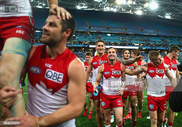Jude Bolton of the Swans celebrates after the AFL First Semi Final match between the Sydney Swans and the Carlton Blues at ANZ Stadium on September...