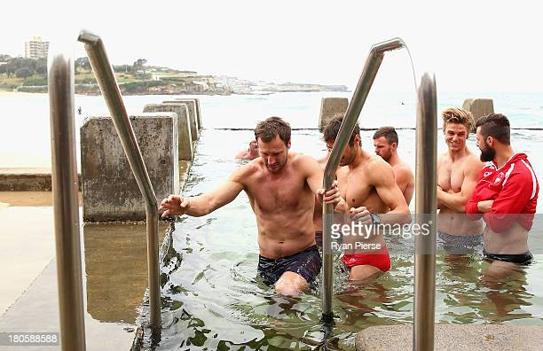 Jude Bolton of the Swans swims during a recovery session at Coogee Beach on September 15 2013 in Sydney Australia
