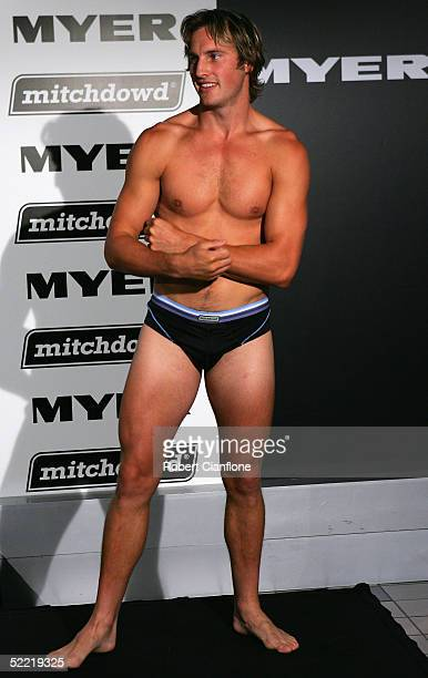 Jude Bolton of the Sydney Swans models the latest underwear during the Mitchdowd Sports Underwear Launch at Myer City February 20, 2005 in Melbourne,...