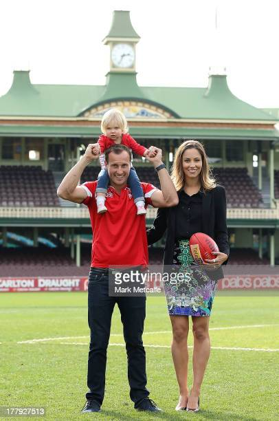 Jude Bolton poses with his wife Lynette and daughter Siarra after announcing his retirement at the end of the season during a Sydney Swans AFL press...