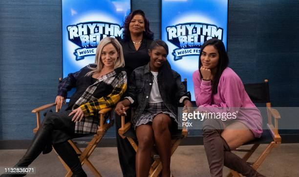 Jude Demorest Queen Latifah Ryan Destiny and Brittany O'Grady behind the scenes in the Zion fall finale episode of STAR airing Wednesday Dec 5 on FOX