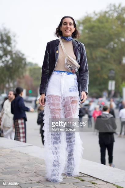 Jude Ferrari is seen attending Maison Margiela during Paris Fashion Week wearing a leather jacket with sheer pants on September 27 2017 in Paris...