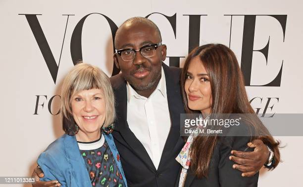 Jude Kelly, Editor-In-Chief of British Vogue Edward Enninful and Salma Hayek attend British Vogue's Forces For Change during the WOW Women Of The...