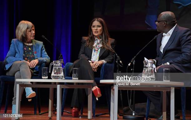 Jude Kelly, Salma Hayek and Editor-In-Chief of British Vogue Edward Enninful attend British Vogue's Forces For Change during the WOW Women Of The...
