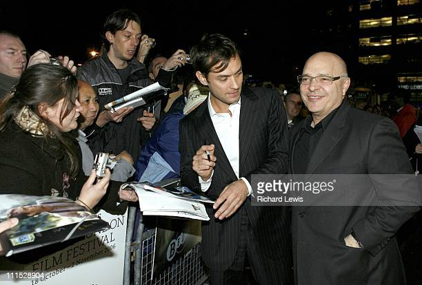 Jude Law and Anthony Minghella director during The Times BFI 50th London Film Festival UK Film Premiere of 'Breaking and Entering' Inside Arrivals at...