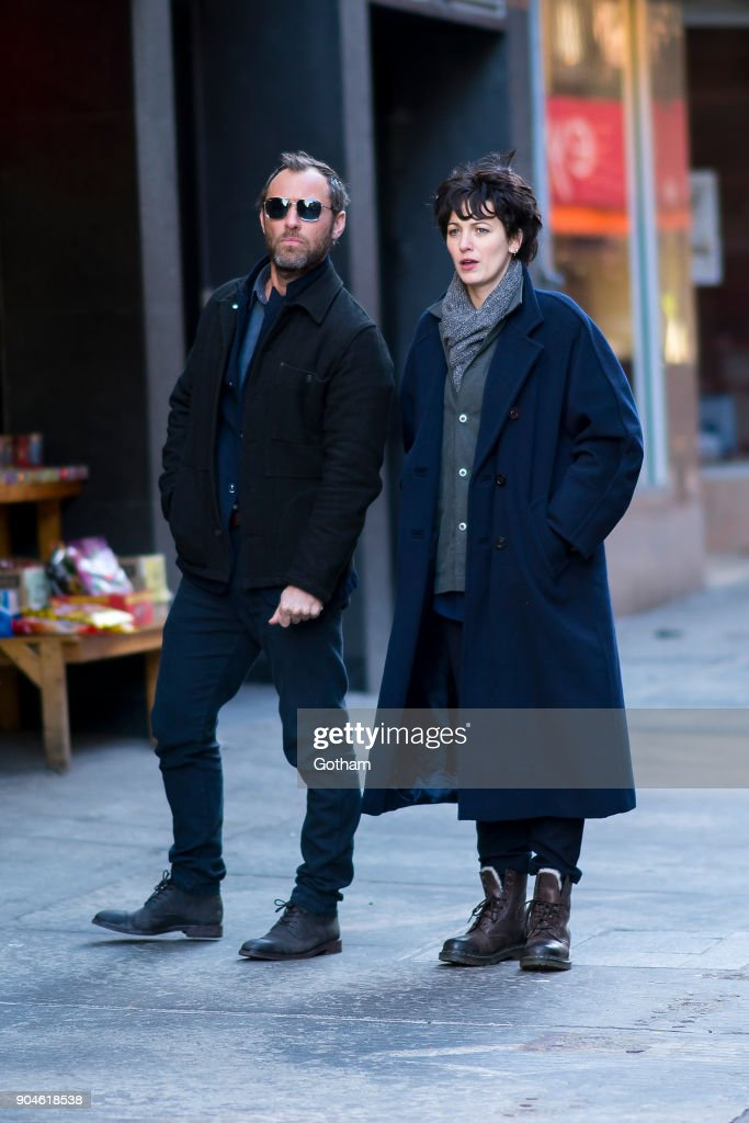 Jude Law (L) and Blake Lively are seen filming 'The Rhythm Section' in Chinatown on January 13, 2018 in New York City.