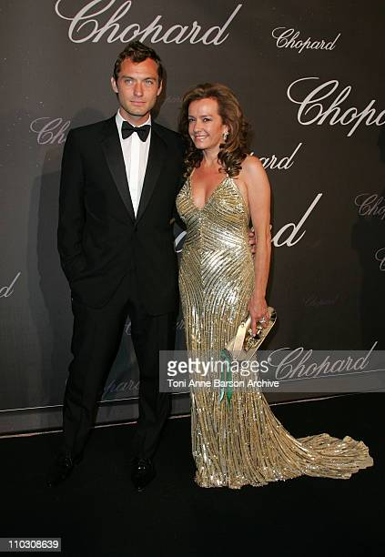 Jude Law and Caroline GruosiScheufele during 2007 Cannes Film Festival Chopard Trophy Presentation at Roaeraie du Port Canto in Cannes France