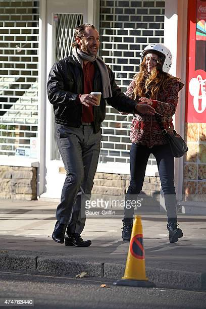 Jude Law and Kerry Condon are seen on the movie set of 'Dom Hemingway' on November 11 2012 in London United Kingdom