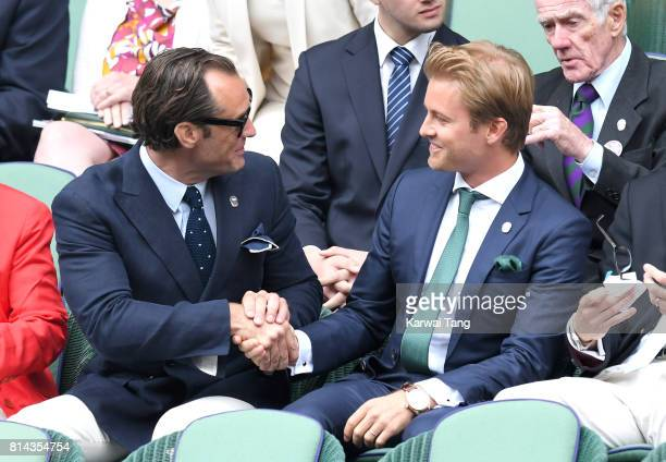 Jude Law and Nico Rosberg attend day 11 of Wimbledon 2017 on July 14, 2017 in London, England.