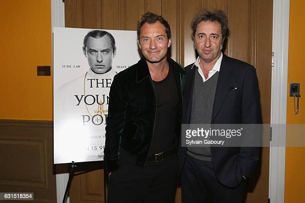 Jude Law and Paolo Sorrentino attend The Cinema Society Hosts a Screening of HBO's 'The Young Pope' on January 11 2017 in New York City