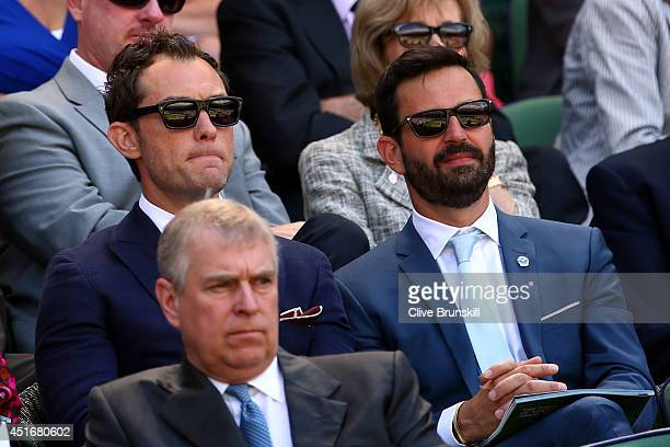 Jude Law and Simon Hammerstein in the royal box for the Gentlemen's Singles semifinal match between Novak Djokovic of Serbia and Grigor Dimitrov of...