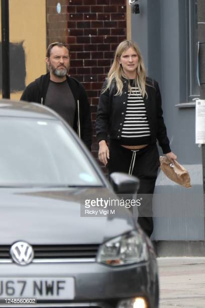 Jude Law and wife Phillipa Coan seen walking around Camden Town after a visit to The Salvation Army on June 09 2020 in London England