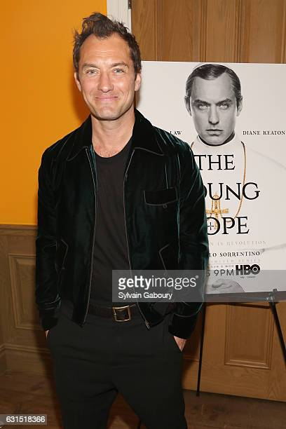 Jude Law attends The Cinema Society Hosts a Screening of HBO's The Young Pope on January 11 2017 in New York City
