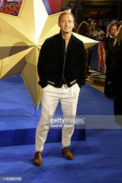 """Jude Law attends the European Gala screening of """"Captain Marvel"""" at The Curzon Mayfair on February 27, 2019 in London, England."""