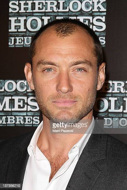 Jude Law attends the 'Sherlock Holmes 2 Games Of Shadows' photocall at Le Grand Rex on January 19 2012 in Paris France