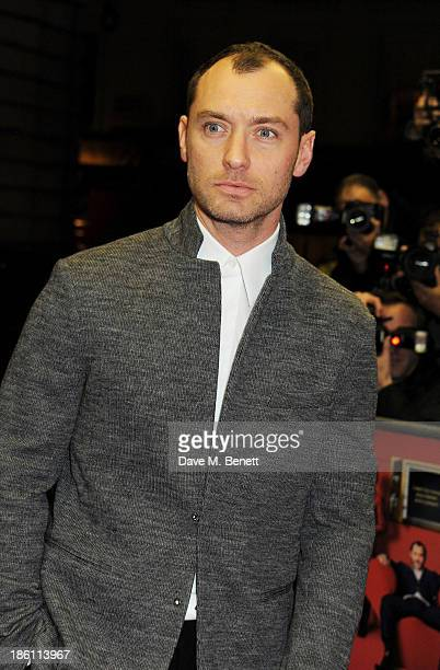 """Jude Law attends the UK Premiere of """"Dom Hemingway"""" at The Curzon Mayfair on October 28, 2013 in London, England."""