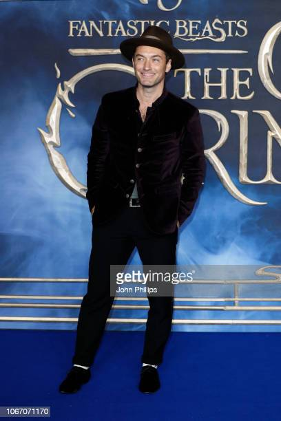 Jude Law attends the UK Premiere of Fantastic Beasts The Crimes Of Grindelwald at Cineworld Leicester Square on November 13 2018 in London England