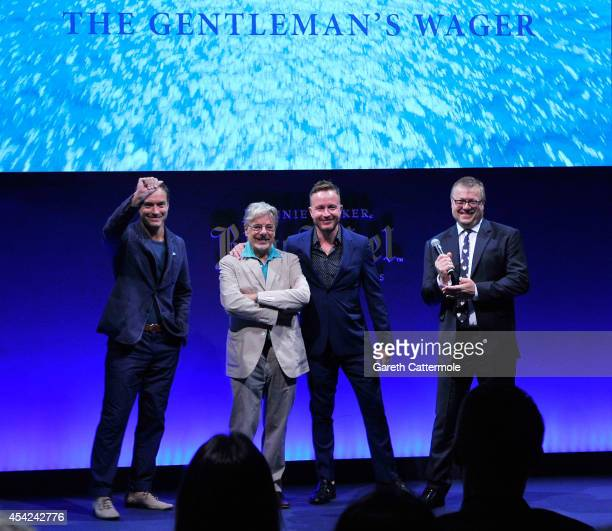 Jude Law Giancarlo Giannini Jake Scott and Global Managing Director of Diageo Reserve James Thompson showcase the JOHNNIE WALKER BLUE LABEL short...