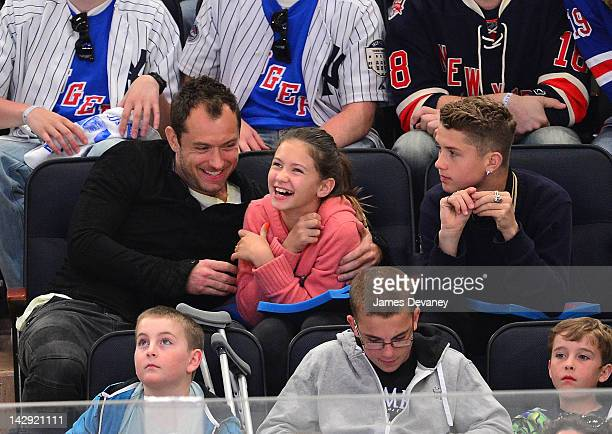 Jude Law Iris Law and Finlay Law attend the Ottawa Senators vs New York Rangers game at Madison Square Garden on April 14 2012 in New York City