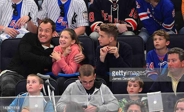 Jude Law Iris Law Finlay Law and Rudy Law attend the Ottawa Senators vs New York Rangers game at Madison Square Garden on April 14 2012 in New York...
