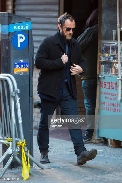 Jude Law is seen filming 'The Rhythm Section' in Chinatown on January 13 2018 in New York City