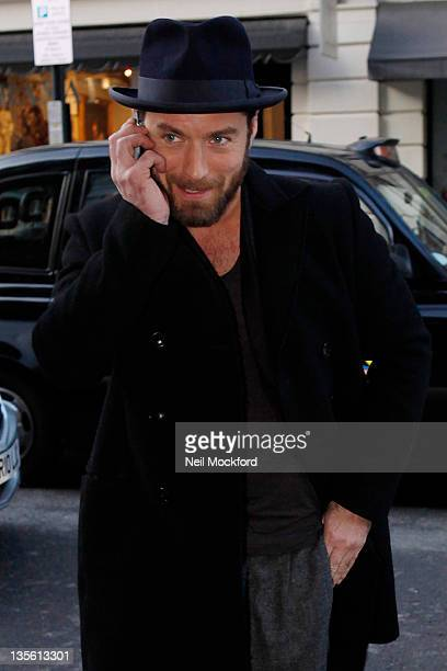 Jude Law is seen leaving a press conference for the new film 'Sherlock Holmes A Game Of Shadows' on December 12 2011 in London England